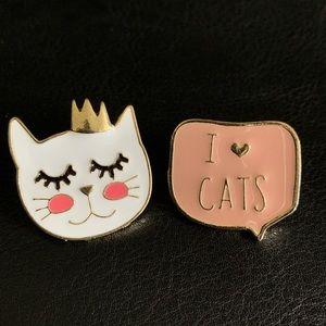I love cats enamel pin set